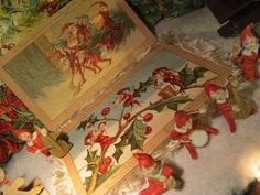 A Cleveland Antique Christmas Collection Antique Christmas, Christmas Past, Elves, Red Green, Cleveland, Thrifting, Berries, Antiques, Painting
