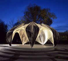 carbon and glass fiber-wrapped pavillion fabricated by robots | University of Stuttgart architecture students studied arthropods' exoskeletons for new construction compound ideas.
