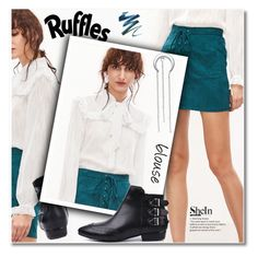 """""""Ruffles blouse"""" by svijetlana ❤ liked on Polyvore featuring WithChic, ruffle and shein"""