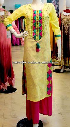 Yellow designer pakistani indian long kurta with deep pink plazzo for girls 2014