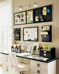 organized working area. I like the letter files hung on the wall. My mail always sits on the desk Nd gets in the way.