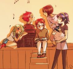 Kids! (Left to right) -Nah, Gerome, Laurent, Kjelle, and Lucina holding a baby Morgan!