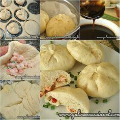 Dica especial para o #lanche! É o delicioso Pão Baozi Cozido no Vapor, é uma receita asiática, exótica e saudável, sirvam-se!  Receita aqui: http://www.gulosoesaudavel.com.br/2012/05/01/pao-baozi-cozido-vapor/