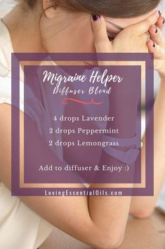 Migraine Helper & Essential Oil Blend For Headaches by Loving Essential Oils ing detox cleanses, bloating remedies, bloating fast, stomach Essential Oils For Migraines, Essential Oil Diffuser Blends, Essential Oil Uses, Doterra Essential Oils, Oils For Diffuser, Migraine Essential Oil Blend, Lemongrass Essential Oil, Allergies, Oil For Headache