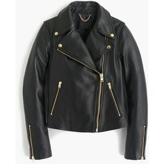 J.Crew Collection Leather Motorcycle Jacket ($550) ❤ liked on Polyvore featuring outerwear, jackets, moto jackets, zip pocket jacket, rider leather jacket, lined leather jacket and fleece-lined jackets