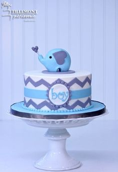 1-tier Baby Boy Elephant Baby Shower Cakes | Patisserie Tillemont | Montreal