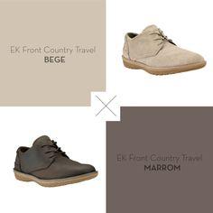 A Timberland quer saber: qual das duas cores do sapato EK Front Country Travel ficaria melhor no seu armário, bege ou marrom?!
