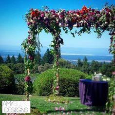 Our super loose, garden inspired chuppah from our beautiful wedding ceremony. Garden roses, hydrangeas, and jasmine vines. #purple @everyelegantdet Location Thomas Fogarty Winery