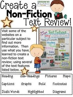 Non-Fiction Text Review Pages - will adapt this idea for library research using our online encyclopedia
