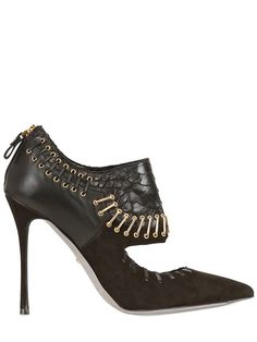 SERGIO ROSSI PYTHON STAPLE PUMPS with back zip closure, gold colored hardware, python & leather upper, suede heel & leather insole, sole & lining