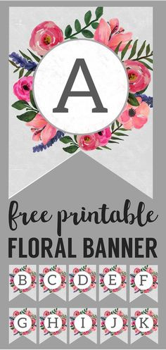 Floral Alphabet Banner Letters Free Printable. DIY flower banner letters. Make a custom banner for a birthday party, baby shower, or spring holiday. #papertraildesign #flowers #partyprintables #bannerletters