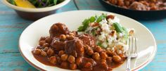 Moroccan Lamb Meatballs with Chickpeas recipe from Food in a Minute