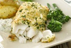 Crispy Baked Hake with Yogurt Tartar Sauce monkfish recipes Seafood Recipes, New Recipes, Cooking Recipes, Healthy Recipes, Shellfish Recipes, Savoury Recipes, Easy Recipes, Dinner Recipes, Favorite Recipes