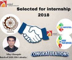 """We pride ourselves in offering internship opportunities to a number of students from some of the most prestigious institutes in India. Here's """"Nilay Ghangale"""", an MBA student at IIM Calcutta joined as intern in marketing and operations at #orderyourservices. #Ardentelecom #OYSInfotel #SummerInternship #IIM #Intern"""