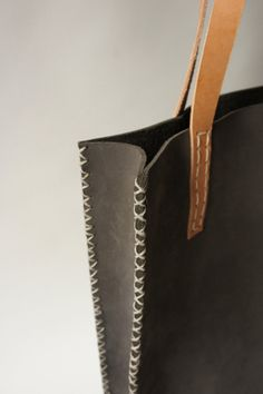 Hand stitched grey leather tote by Stitch and Tickle