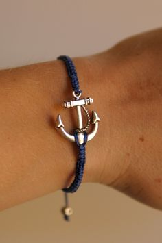 CUSTOM Anchor Bracelet - silver and poly cord with macrame adjustable sliding knot. $7.50, via Etsy.