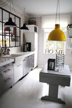 clean white space with one bold yellow industrial light.