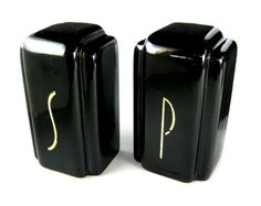Vintage Art Deco Salt and Pepper Shakers / 1930's 1940's Ceramic Black and White Glazed S and P on Etsy, $29.99