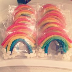 Great licorice and marshmallow rainbow party favors at a rainbow girl birthday! See more party ideas at CatchMyParty.com. #girlbirthday #rainbows