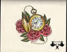tattoo-sketch pocket watch by Tausend-Nadeln.deviantart.com on @deviantART