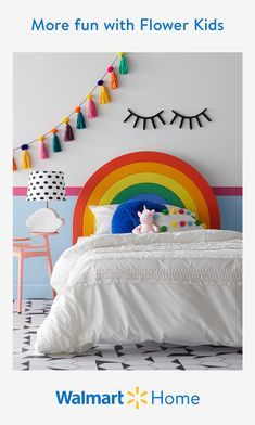 Walmart Home, Rainbow Bedroom, Childrens Bedroom Decor, Cool Kids Rooms, Little Girl Rooms, Girls Bedroom, Bedroom Art, Bedroom Ideas, My New Room