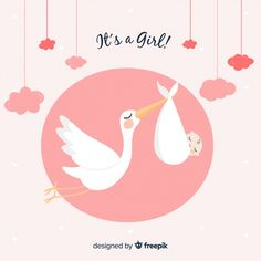 Its a Girl ♡Coming soon♡ پوشاک کودک و نوجوان ۲ تا ۱۵ سال . Cute Little Baby, Little Babies, Stork Baby Showers, Baby Shower Cards, Baby Shop, Vector Freepik, Projects, Kids, Nappy Cake