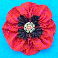 Poppy Fabric Flower Kanzashi Brooch | Craftsy