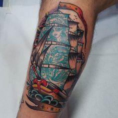 Tattoo Ship by @eddieczaicki at 23 Keller Tattoo in Paris France. #tattooship #ship #boat #sails #eddieczaicki #23kellertattoo #paris #france #tattoo #tattoos #tattoosnob