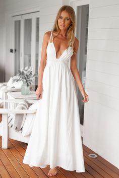 New Sexy Women Beach Dress  V Neck Spaghetti Strap Summer Beach Maxi Long Sundress Plus Size Women clothing White