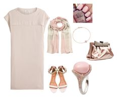 """""""Beautiful effortless chic romantic look. Silk Beige dress, Silk beige/pink scarf, stunning pink n diamond ring,gold bracelet, and other accessories."""" by im-karla-with-a-k on Polyvore"""