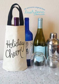 Holiday Cheer Wine Bag, Thanksgiving Hostess Gift, Christmas, Hanukkah, 100% Natural Cotton Canvas, Sturdy Black Handles, 2+ Bags Sale Price by leeshyanna on Etsy