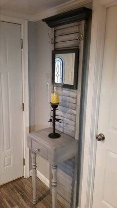 Hall tree Made with a repurposed Bi-fold door and a handmade base with drawer