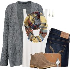 Cable knit cardigan, plaid scarf and ankle boots