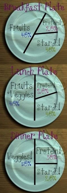 A breakdown of what your plate should look like at each meal time.