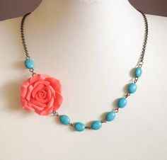 Coral Flower NecklaceBridesmaid JewelryTurquoise by BijouxForest, $24.80
