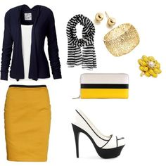 Business casual - All I like is the cardigan and scarf.:P