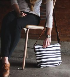 Brush Stripe Canvas Crossbody Bag by Such Sweet Tierney