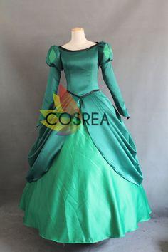 Disney Little Mermaid Princess Ariel Dark Green Dress With Free Shipping Worldwide