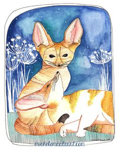 Fennec Foxes Art Print Print of Foxes Fennec Fox by michelemaule, $20.00