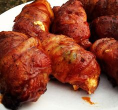 Bacon Wrapped Buffalo Chicken Roll Ups Recipe - cooked on the grill