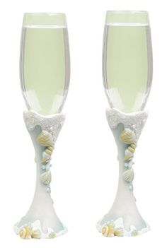 Hortense B. Hewitt Wedding Accessories Seaside Jewels Fluted Champagne Toasting Glasses, Set of 2