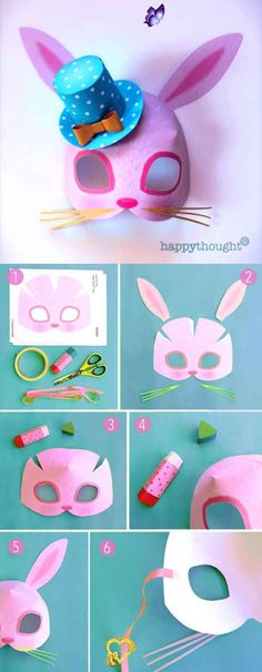 Easter bunny mask printable  template at happythought.co.uk<br> Animal Art Projects, Easy Art Projects, Animal Crafts, Projects For Kids, Kids Crafts, Bunny Crafts, Easter Crafts, Easter Ideas, Animal Masks For Kids