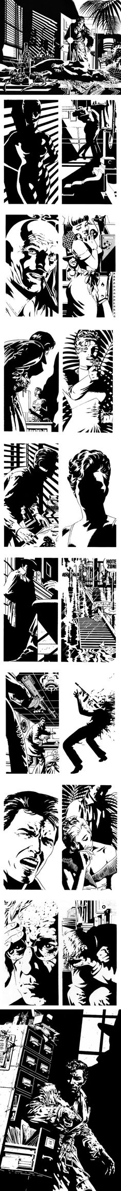 "Selection of panels and plates from Jim #Steranko's Raymond Chandler story, ""Red Tide""."