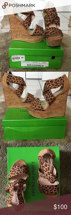 Leopard Wedges sandals If you are interested, I am willing to drop the price to 75 $ so you can get it with reduced or free shipping , like new , I used them 1 time , comes with little bags for each shoe with its box, size 6 pratricia pratt Shoes Wedges