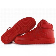 dfe194c30be Classic Pure Red Nike Air Force One High Tops Women Shoes ($80) ? liked