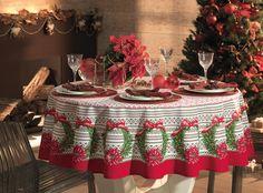 Toalha de mesa Então é Natal. Com detalhes em glitter vermelho.