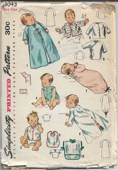 Authentic Vintage and Modern Sewing Patterns Pattern-Walk Modern Sewing Patterns, Simplicity Sewing Patterns, Vintage Patterns, Baby Patterns, Layette Pattern, Cardigan Shirt, Sleeveless Cardigan, Baby Crib Sheets, Doll Dress Patterns