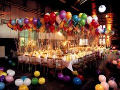 Dinner party decorated with balloons