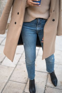 Go to winter outfit ideas, how to style your camel coat.  *Hint* Mom jeans are always a good idea