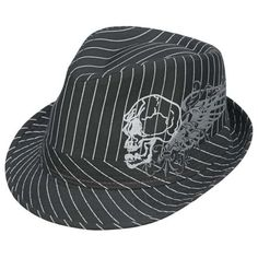 Punk Fedoras, Punk Rock Fedoras, Gangster Fedoras, Punk Hats, Punk... ($15) ❤ liked on Polyvore featuring accessories, hats, other, fedora hat, pinstripe fedora hat, pinstripe fedora, skull hat and punk hat